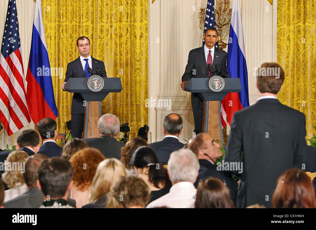 WASHINGTON, USA. JUNE 25, 2010. U.S. President Barack Obama and Russian President Dmitry Medvedev (L) give a joint Stock Photo