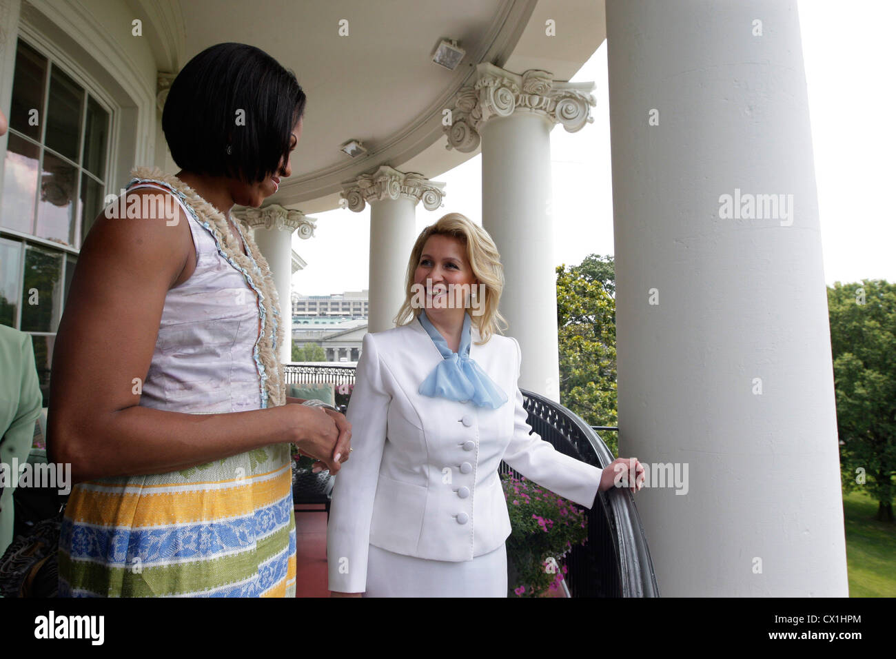 WASHINGTON, USA. JUNE 25, 2010. Wife of Russian President Dmitry Medvedev, Svetlana Medvedeva and U.S. First Lady Stock Photo