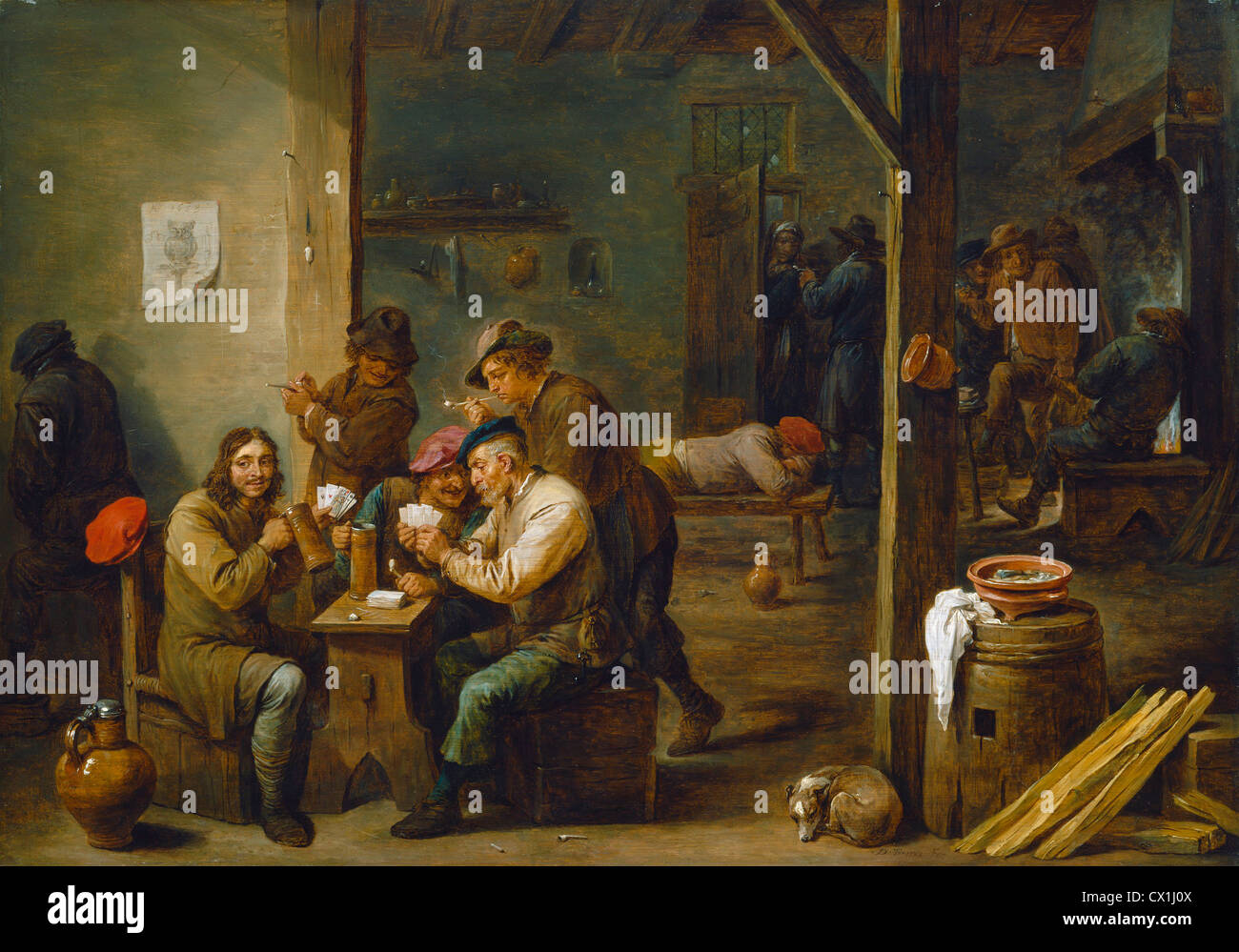David Teniers the Younger, Tavern Scene, Flemish, 1610 - 1690, 1658, oil on  panel