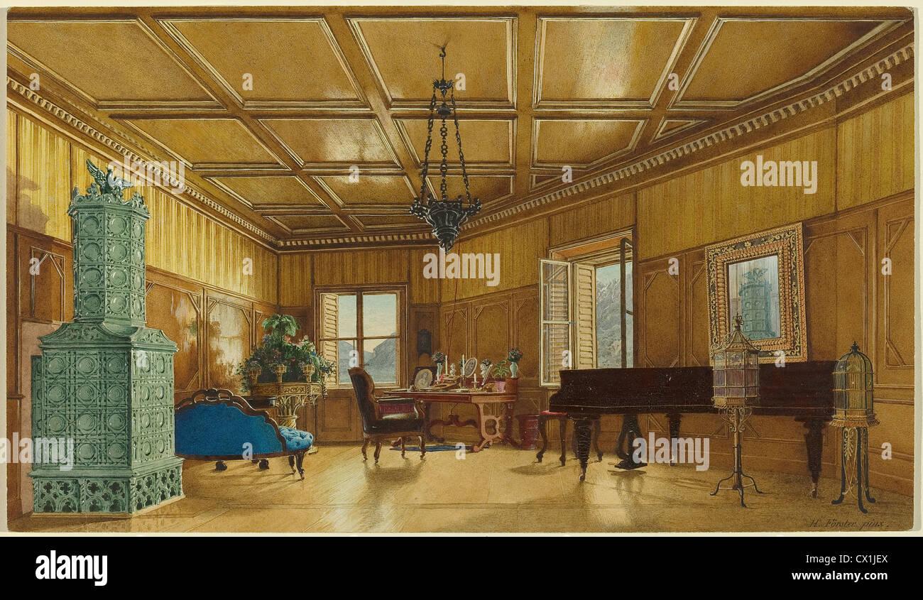 Heinrich von Förster (German, 1832 - 1889 ), The Music Room of Archduchess Margarete, Princess of Saxony, in - Stock Image