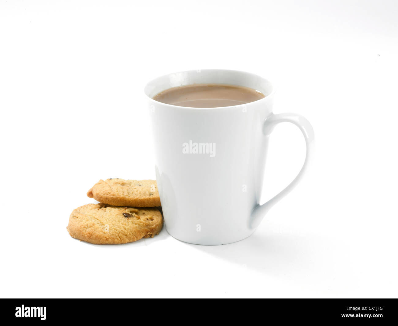 A mug of coffee and two biscuits seen from the side on clean white background - Stock Image