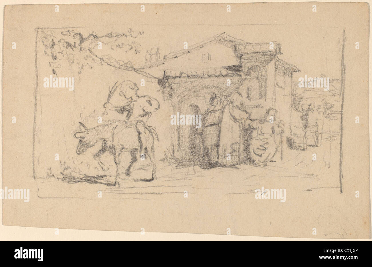Elihu Vedder, Son and Donkey, American, 1836 - 1923, c. 1859, graphite on wove paper - Stock Image