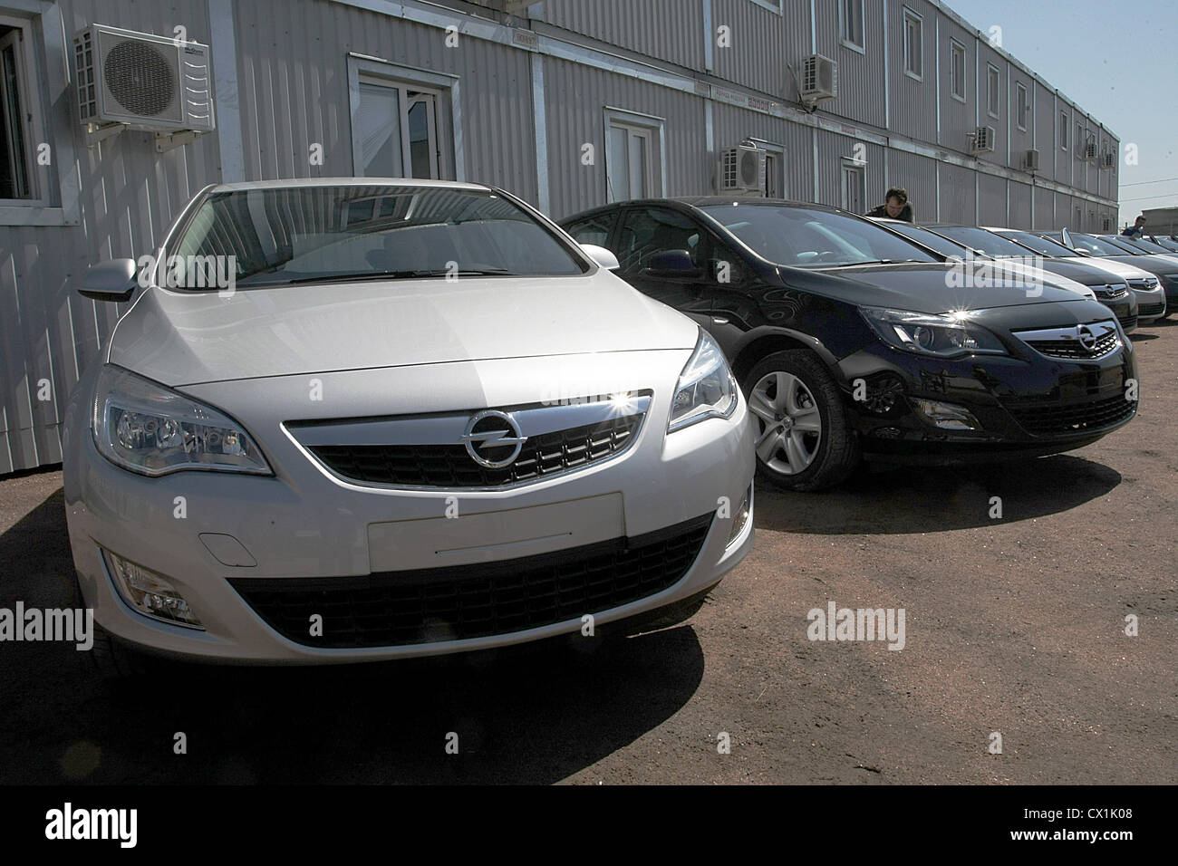 LENINGRAD REGION, RUSSIA. JUNE 29, 2010. These Opel Astra cars have rolled off the production line at the General - Stock Image