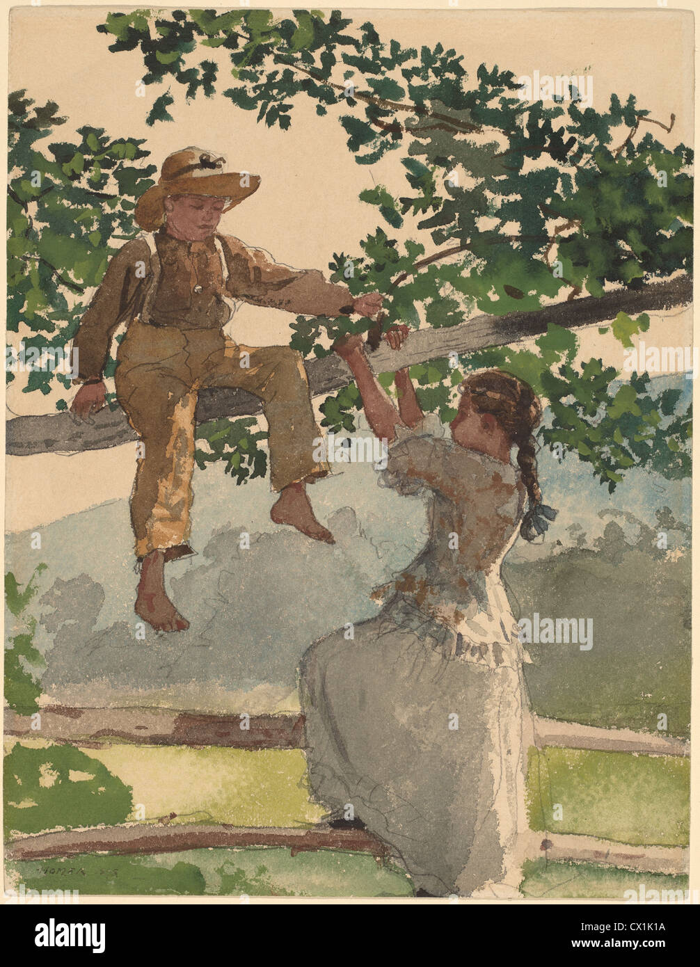 Winslow Homer, On the Fence, American, 1836 - 1910, 1878, watercolor, gouache, and graphite on wove paper - Stock Image