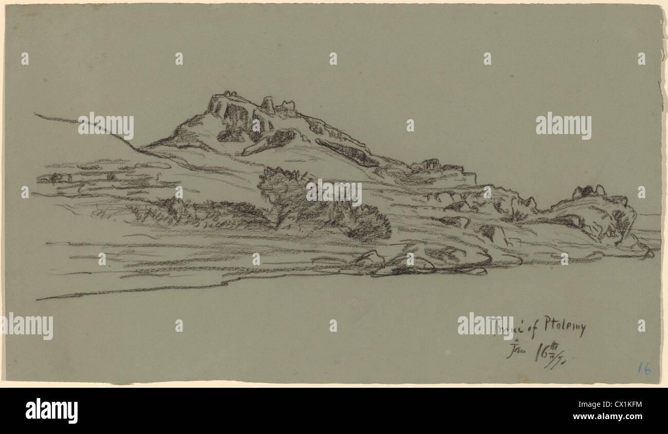 Elihu Vedder, Tmui of Ptolemy, American, 1836 - 1923, 1890, black crayon on green wove paper - Stock Image