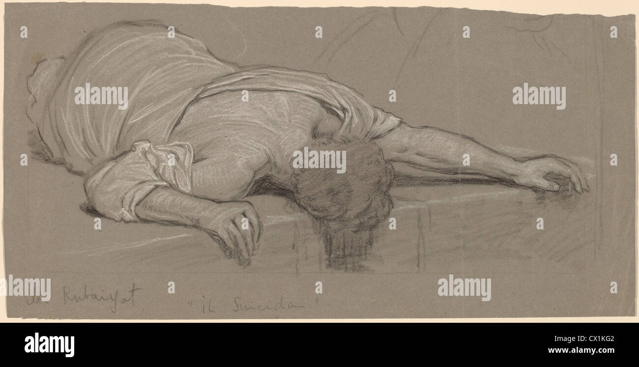 Elihu Vedder, From the Rubáiyát, American, 1836 - 1923, c. 1887, graphite on wove paper - Stock Image