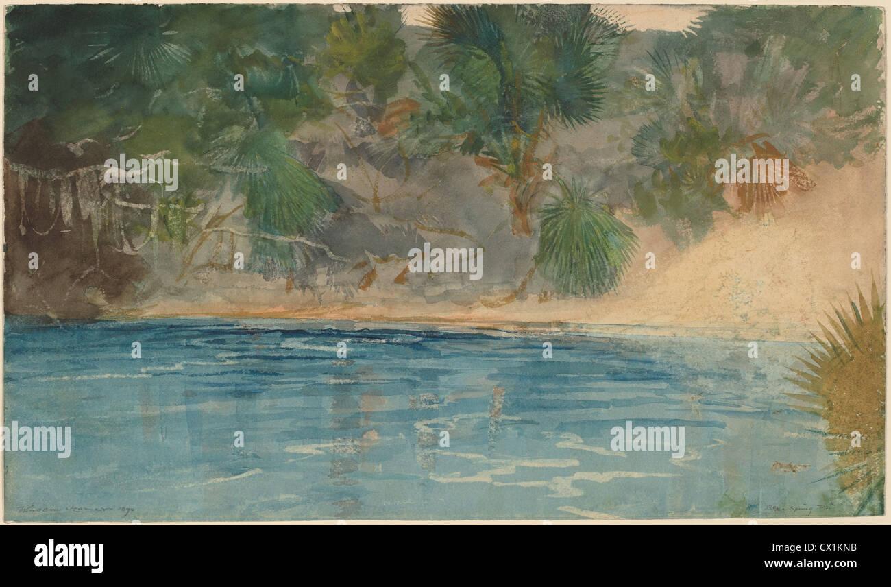 Winslow Homer, Blue Spring, Florida, American, 1836 - 1910, 1890, watercolor - Stock Image