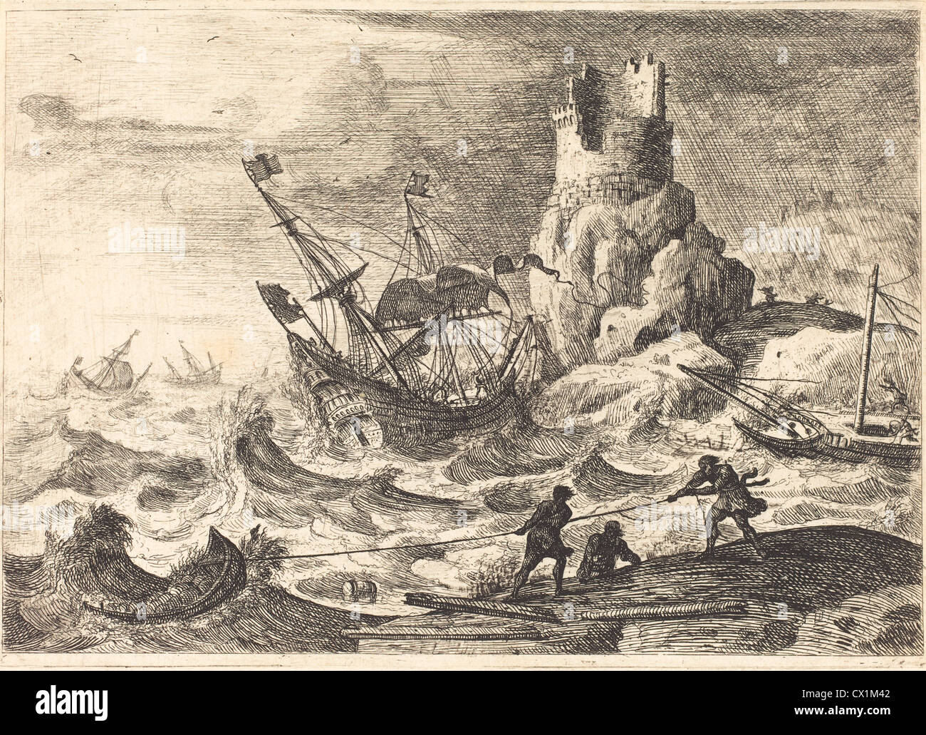 Claude Lorrain (French, 1604/1605 - 1682 ), The Shipwreck (Le naufrage), c. 1638/1641, etching - Stock Image