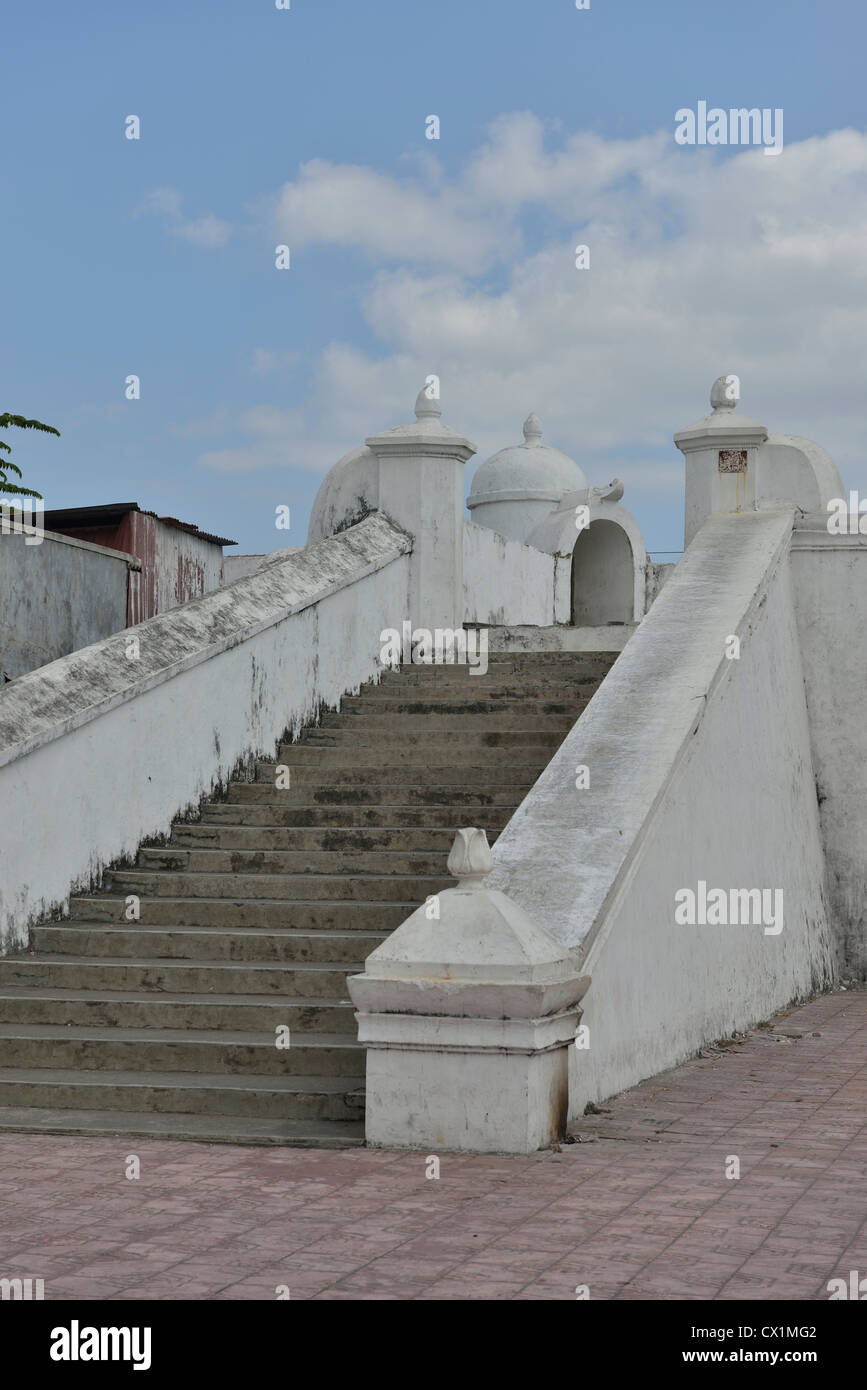 The stairs on the outer walls of Yogyakarta; Central Java, Indonesia. - Stock Image
