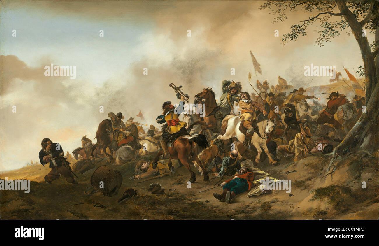 Philips Wouwerman (Dutch, 1619 - 1668 ), Battle Scene, c. 1645/1646, oil on panel - Stock Image