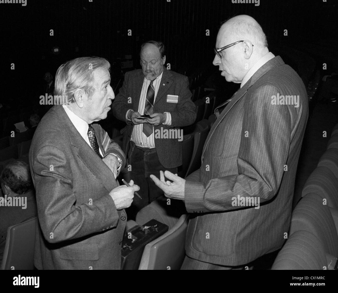 Moscow. USSR. Academician Andrei Sakharov (R) and Jerome Wiesner, educator and Science Advisor to U.S. Presidents, - Stock Image
