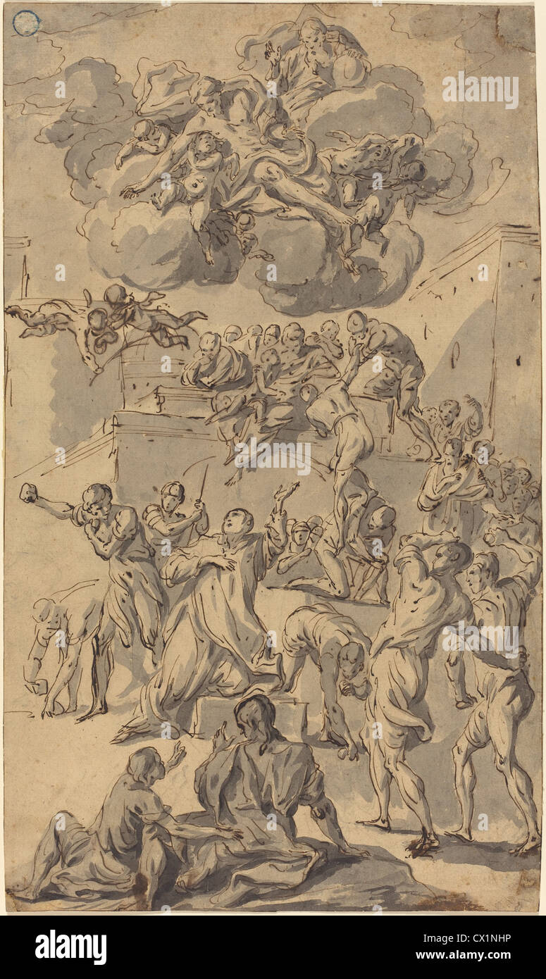 Joseph Parrocel (French, 1646 - 1704 ), The Stoning of Saint Stephen, pen and brown ink, with gray wash on laid - Stock Image