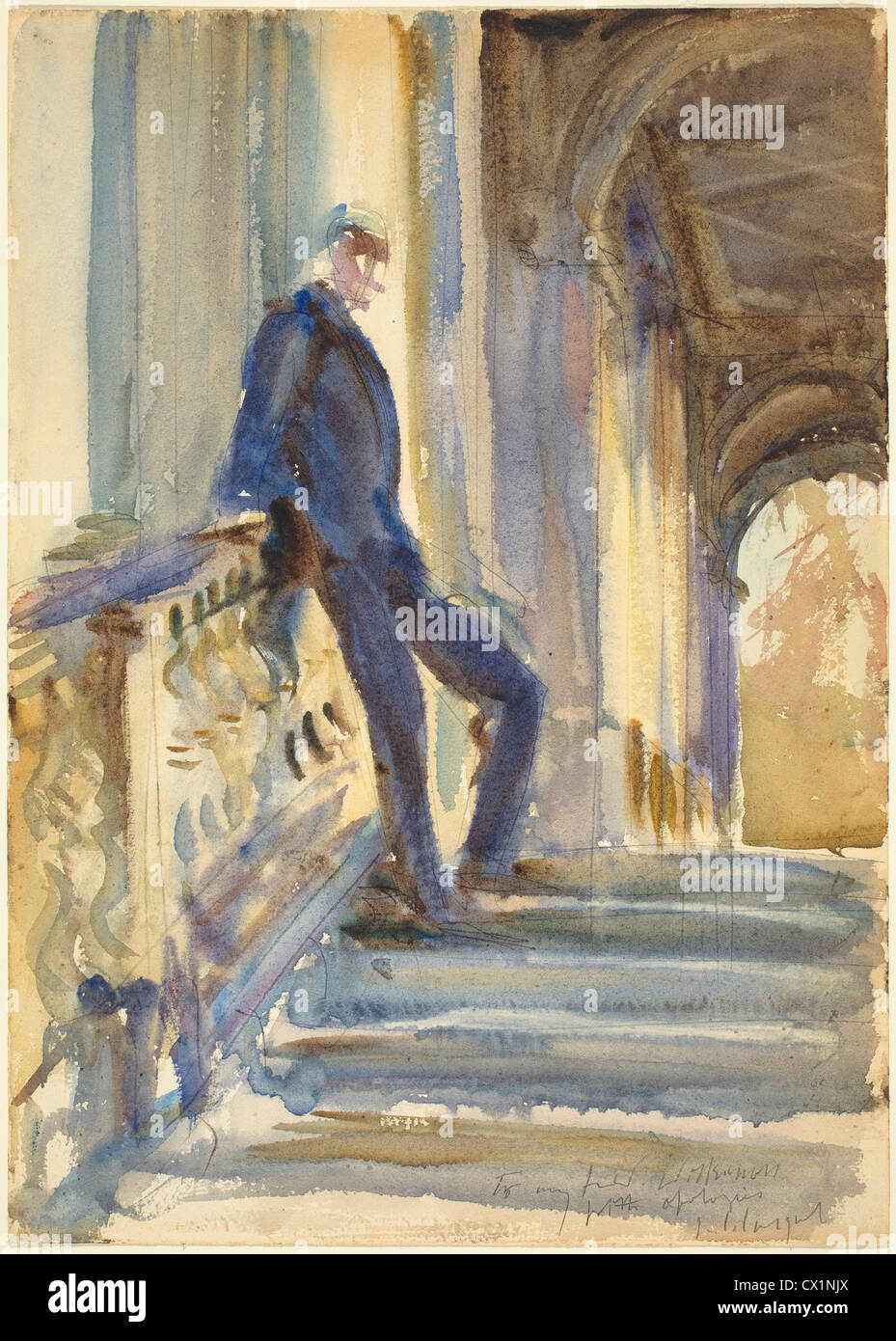 John Singer Sargent, Sir Neville Wilkenson on the Steps of a Venetian Palazzo, American, 1856 - 1925, 1905, watercolor - Stock Image