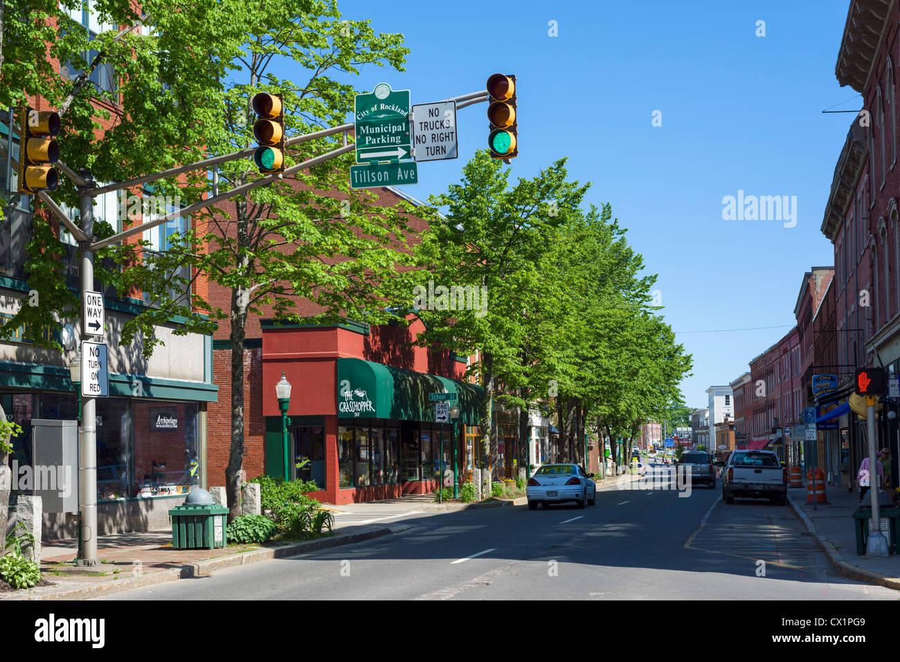 Main Street, Rockland, Knox County, Maine, USA - Stock Image