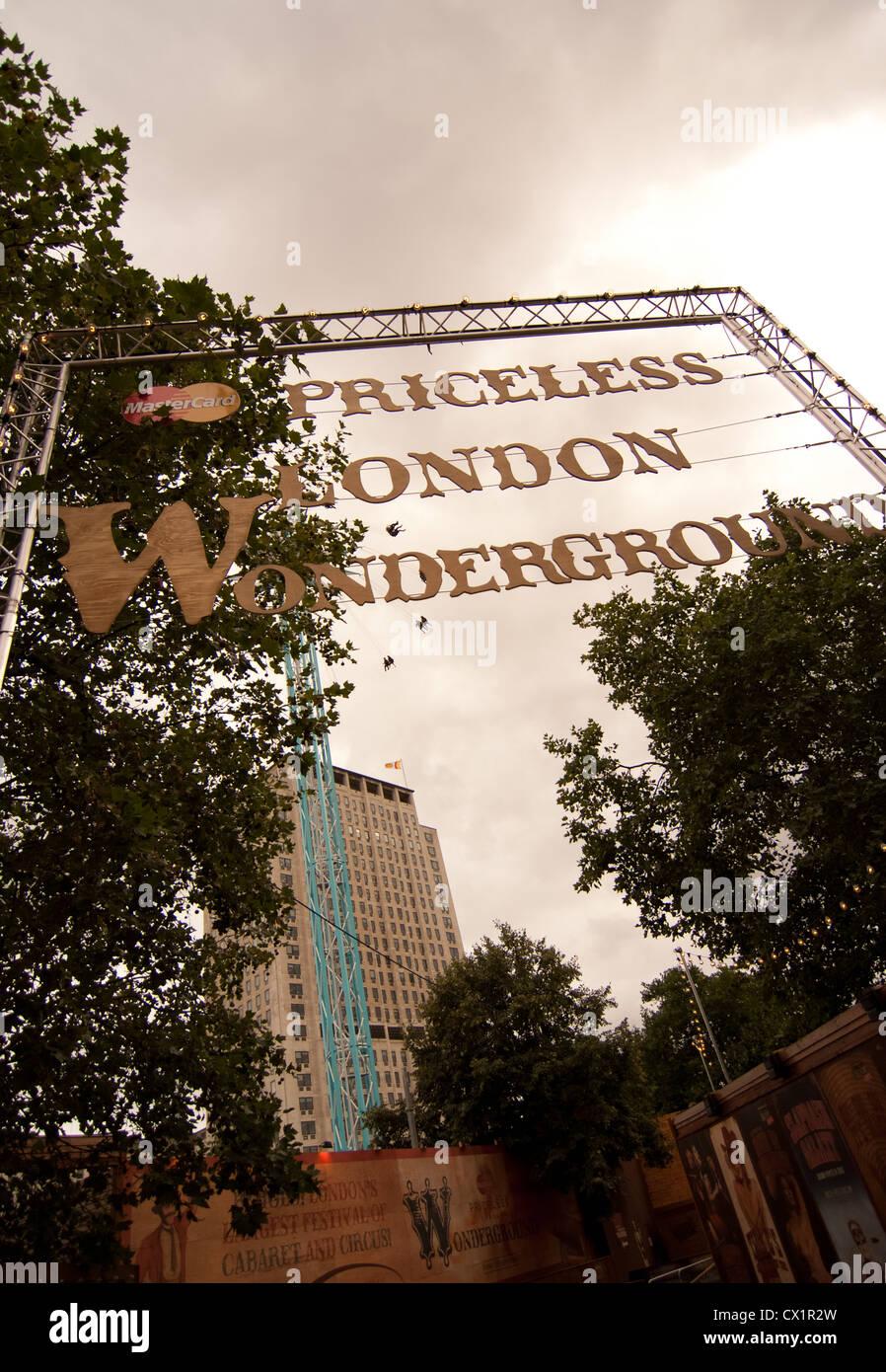 the entrance to the  Priceless London Wonderground fun fair south bank. - Stock Image