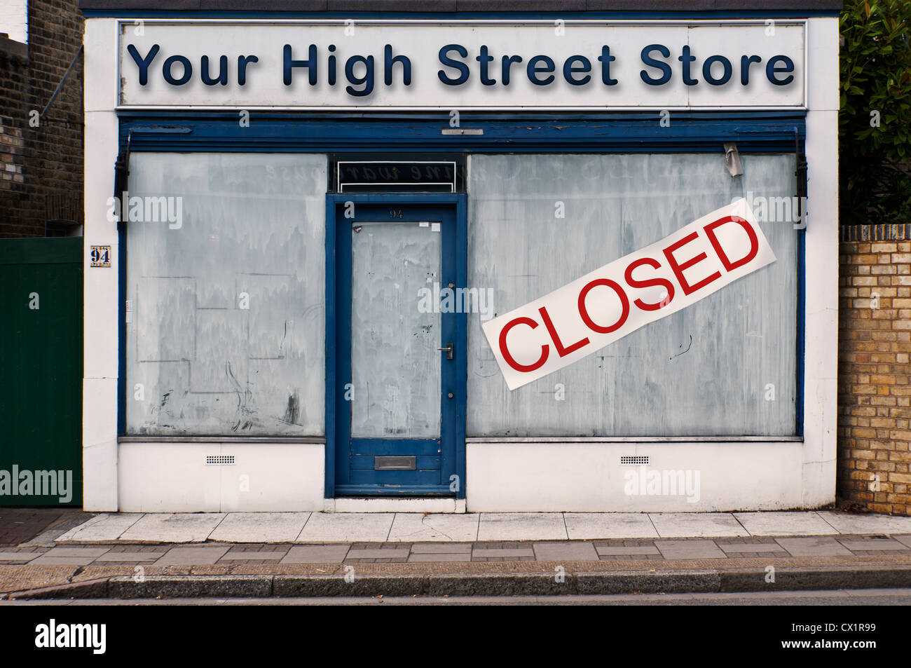 68cc2116638f Front of a closed down shop - Your High Street Store - Concept Image ...