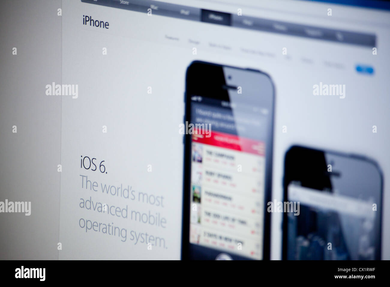 Apple website screenshot with iPhone 5 presentation page - Stock Image