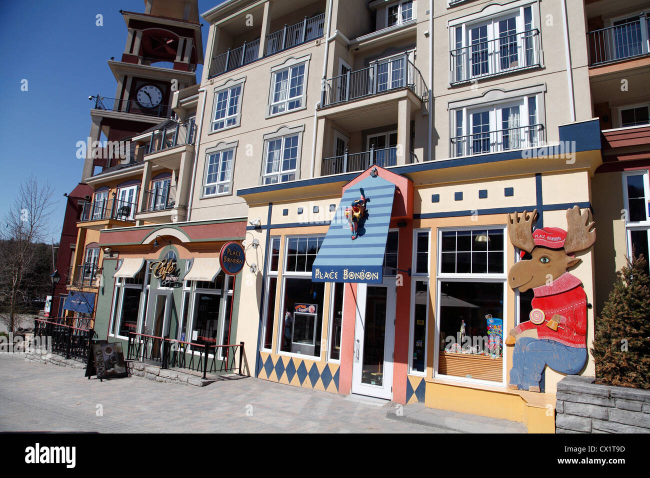 Retail Stores In Mont Tremblant Ski Village A Winter Ski Resort In The Laurentian Mountains Quebec Canada - Stock Image