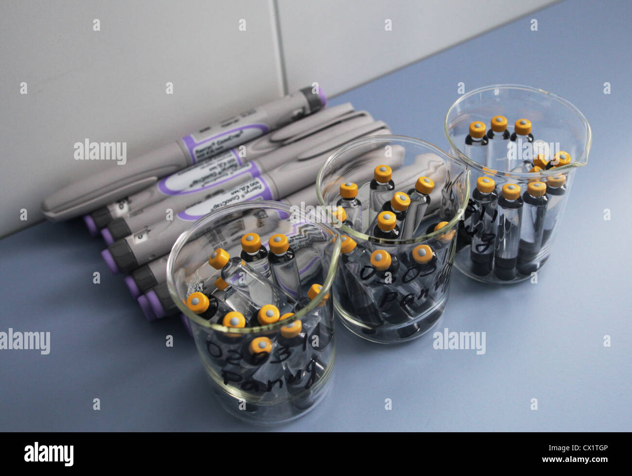 ITAR-TASS: ORYOL REGION, RUSSIA. MAY 24, 2011. A display of vials containing human soluble insulin (brand name Insuman - Stock Image
