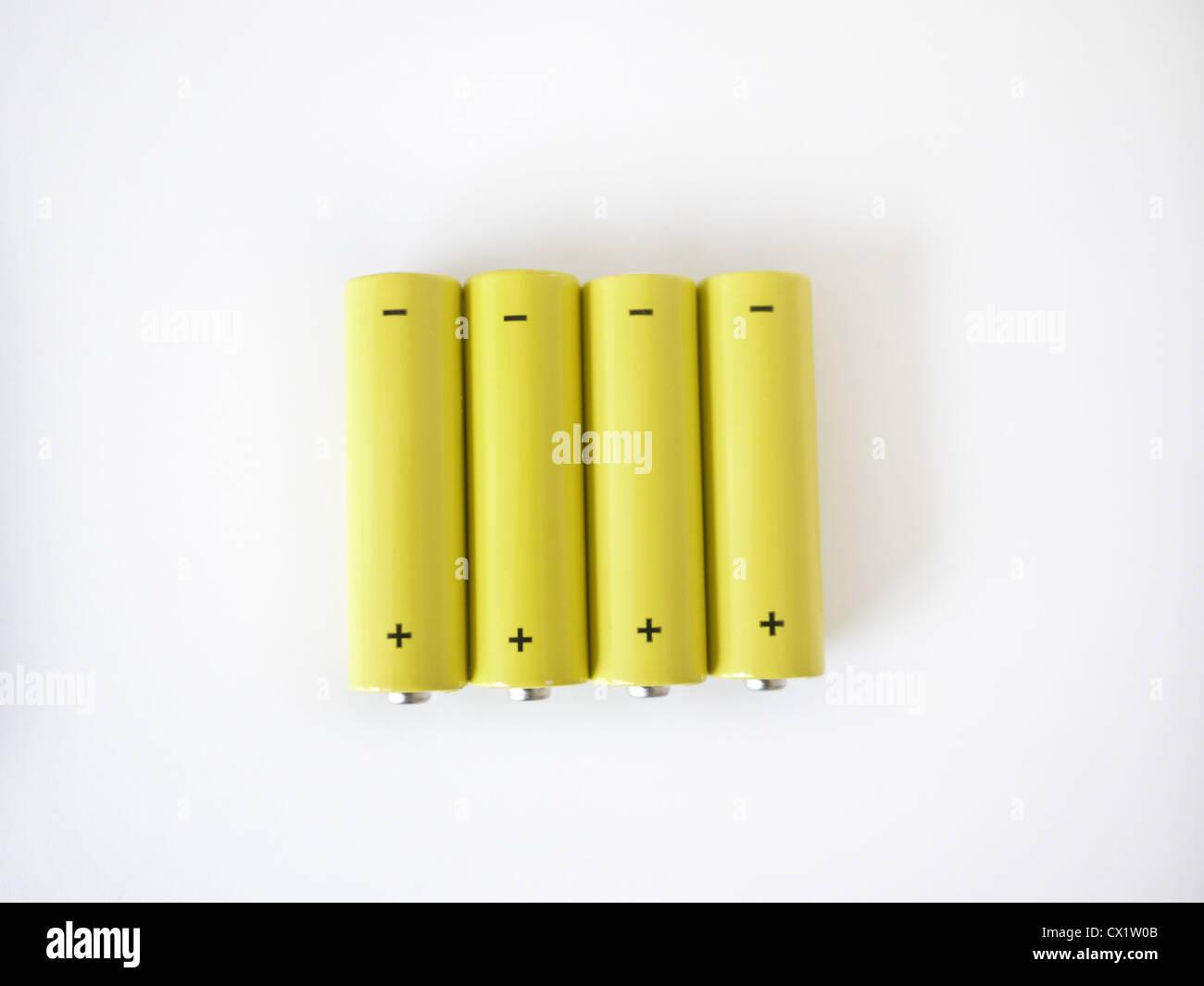four batteries positive negative - Stock Image