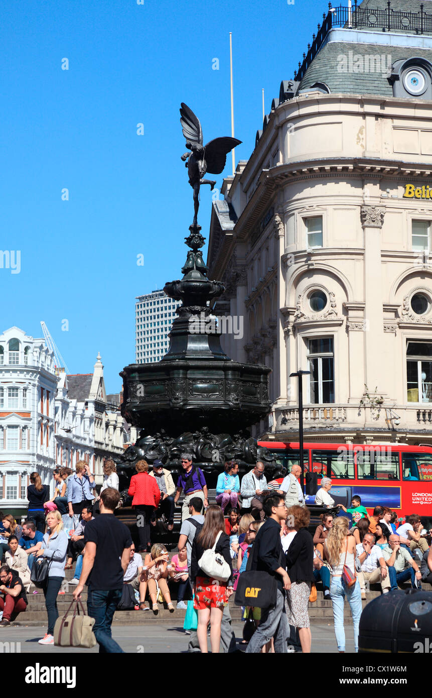 Statue of Eros at Piccadilly in London UK. - Stock Image
