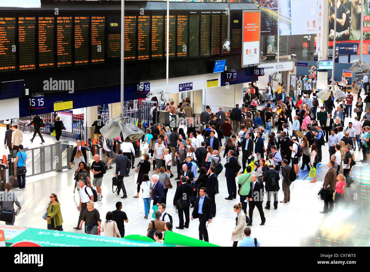 Waterloo Station concourse in London UK. - Stock Image
