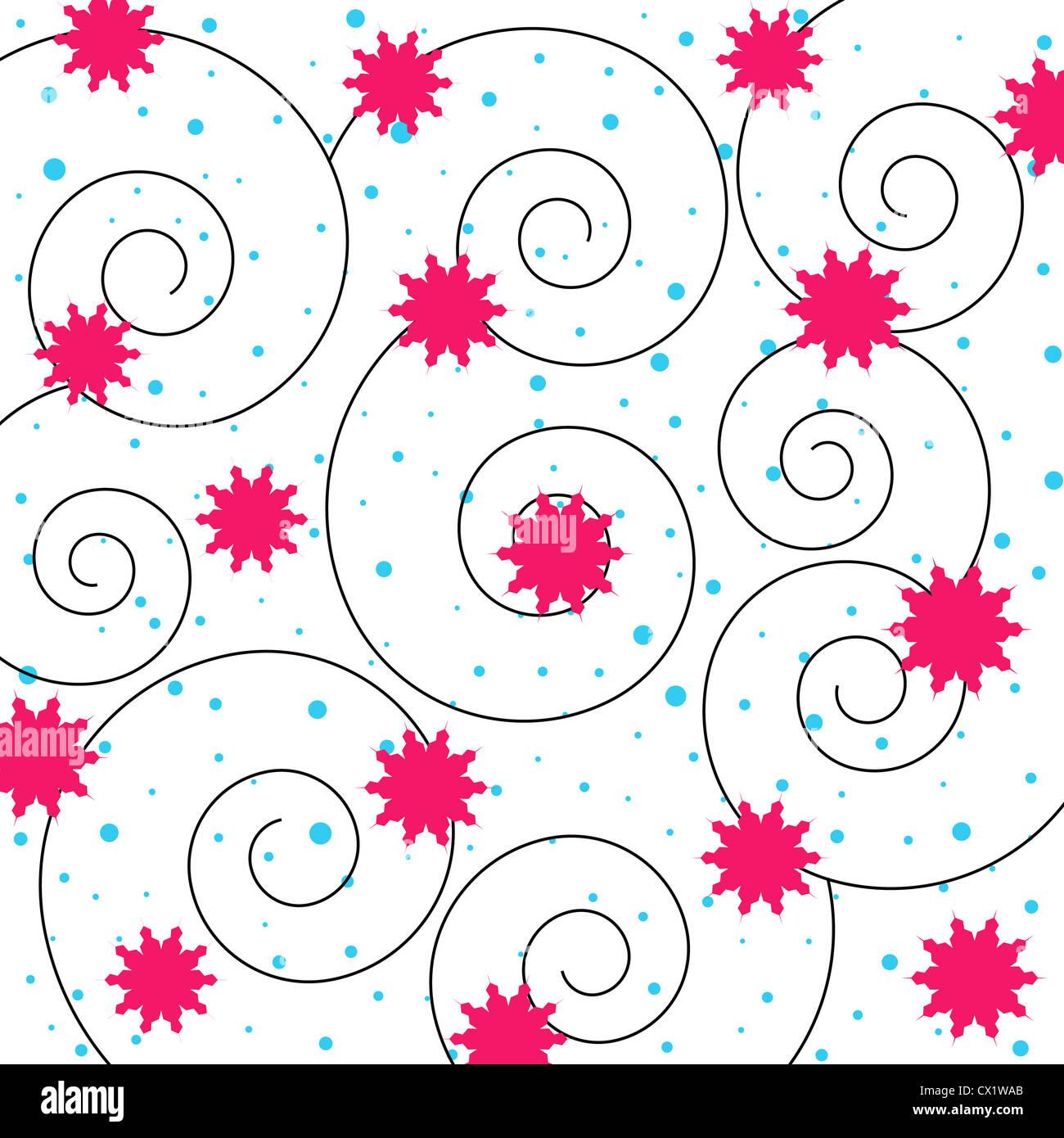 Stars and swirls pattern on white Stock Photo