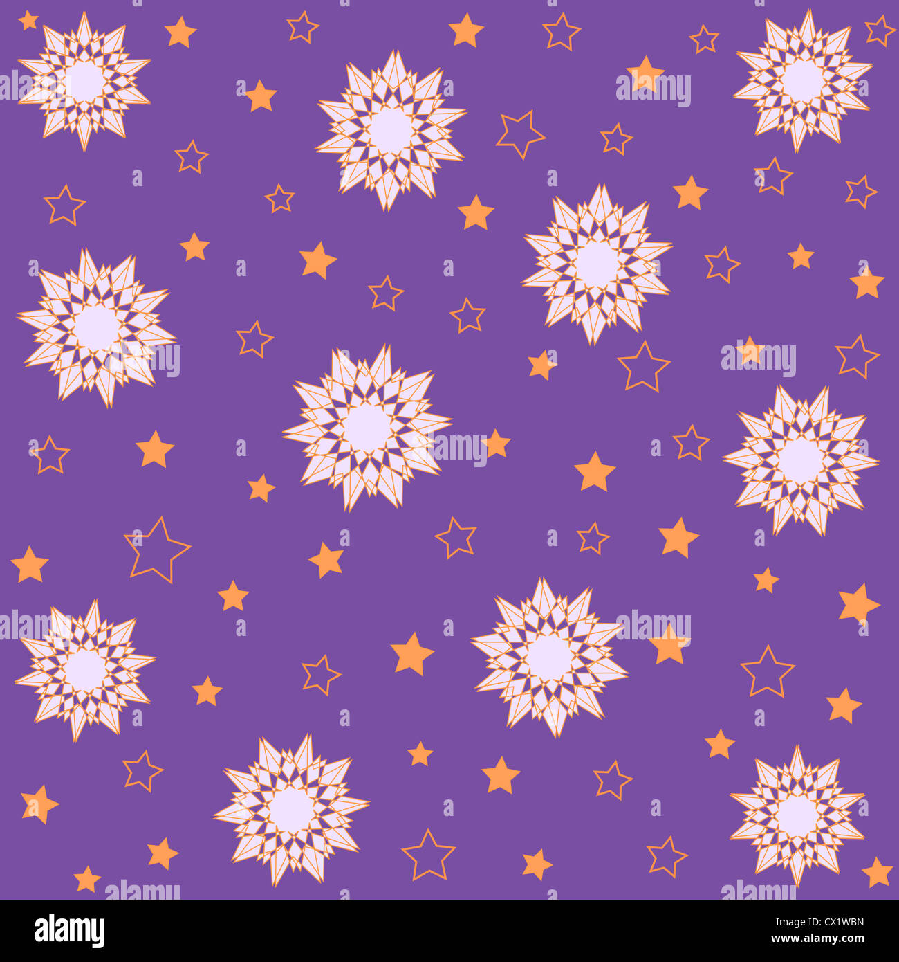 Artistic floral and stars pattern on violet Stock Photo
