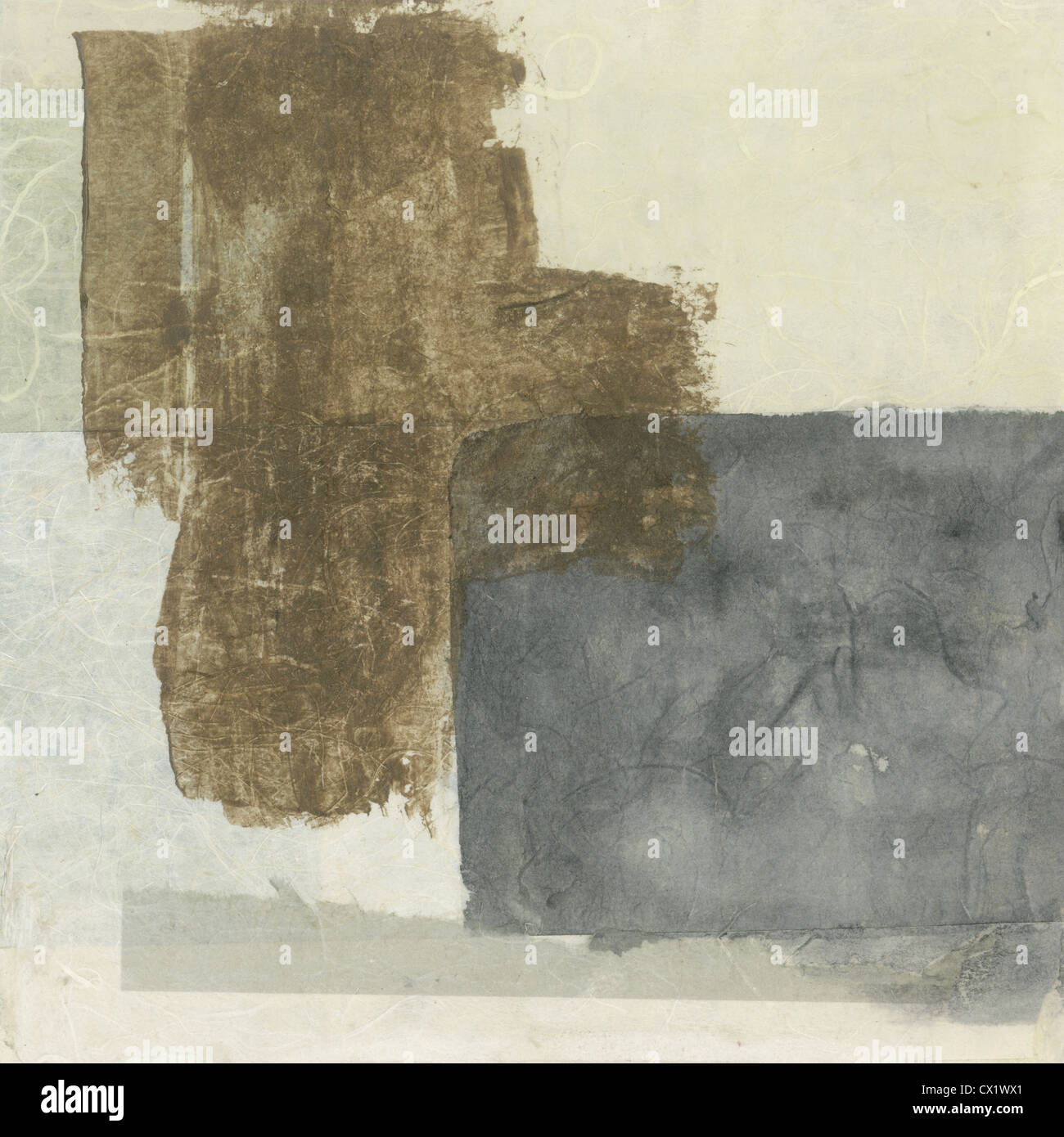 Abstract grey and brown tones textural paper collage painting. - Stock Image