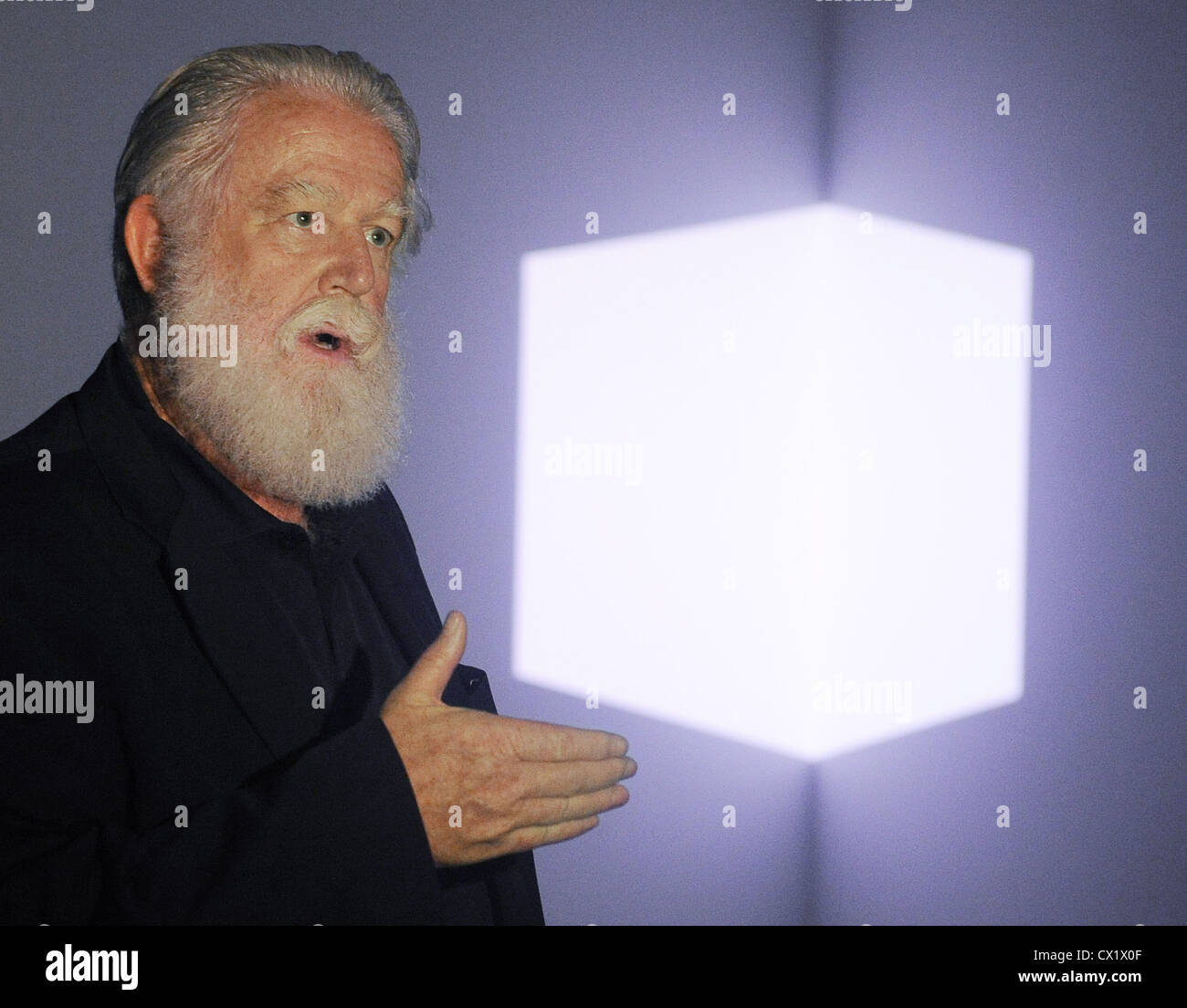 ITAR-TASS: MOSCOW, RUSSIA. JUNE 10, 2011. American artist James Turrell attends the exhibition of his works opened Stock Photo