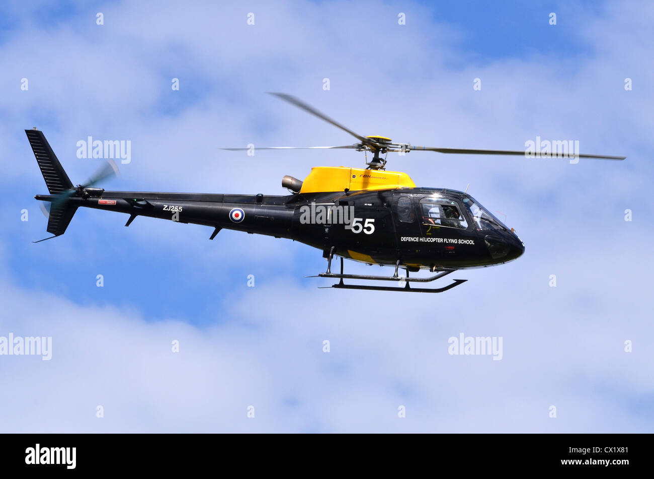 Eurocopter AS-350BB Squirrel HT1 operated by the RAF Defence Helicopter Flying School - Stock Image