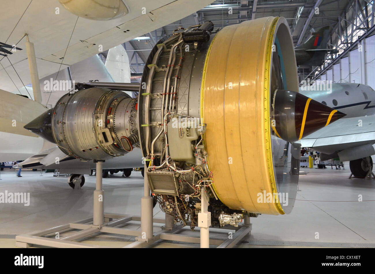 Rolls Royce Trent 800 turbofan jet engine on display at Duxford - Stock Image