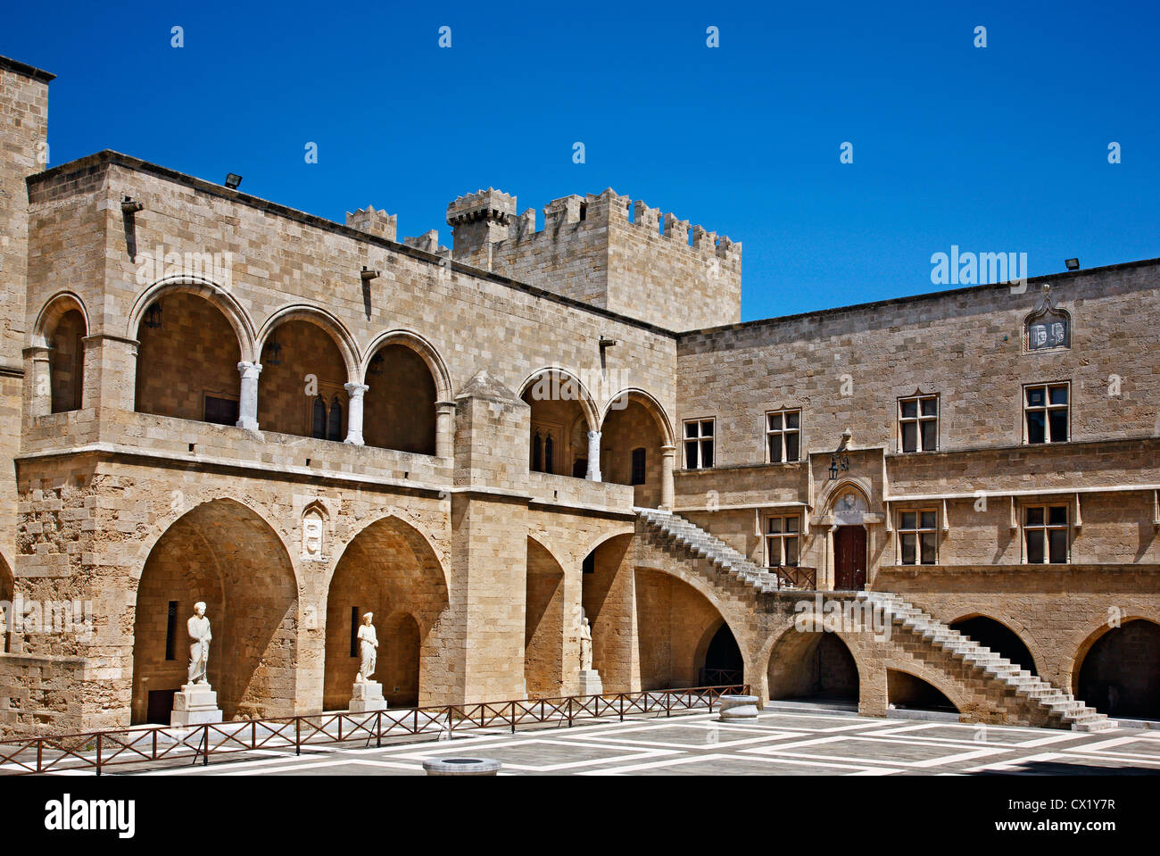 The inner court at the Palace of the Grand Master, medieval town of Rhodes island, Dodecanese, Greece. - Stock Image