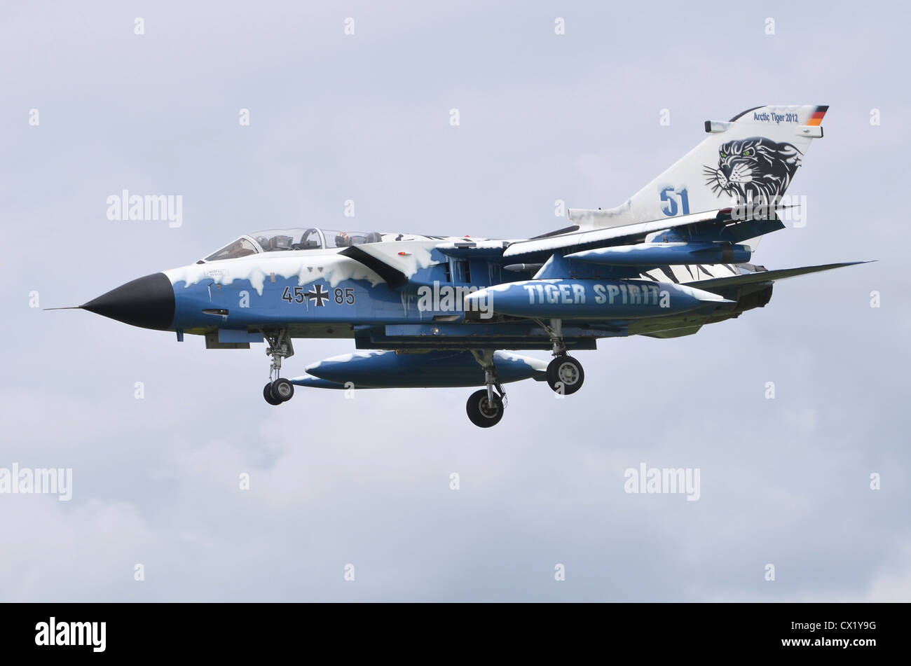 Panavia Tornado IDS in Arctic Tiger 2012 markings, operated by the German Air Force, on approach for landing at - Stock Image