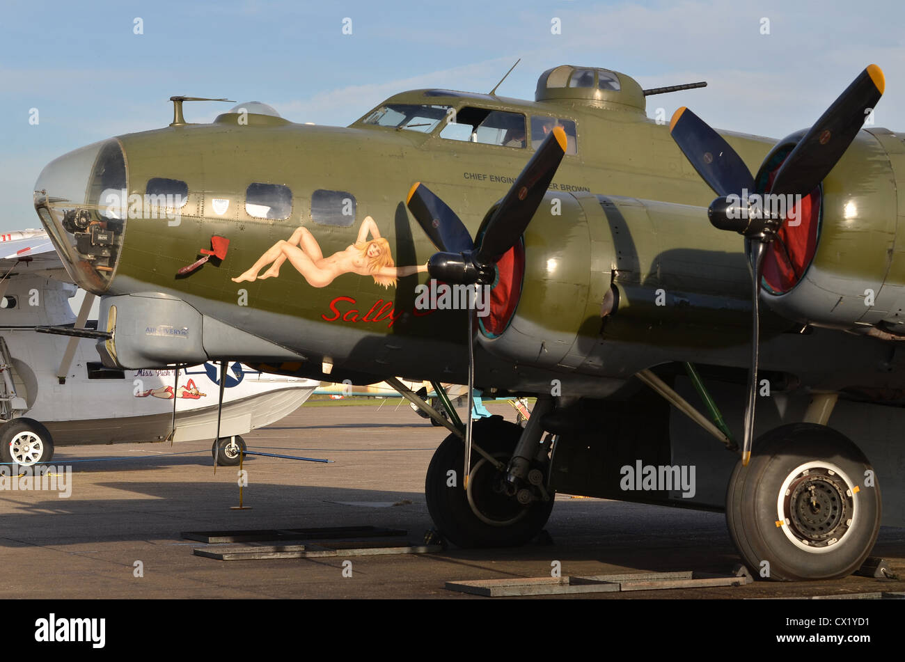 Boeing B-17G Flying Fortress, 'Sally B', on display at Duxford Airshow Stock Photo