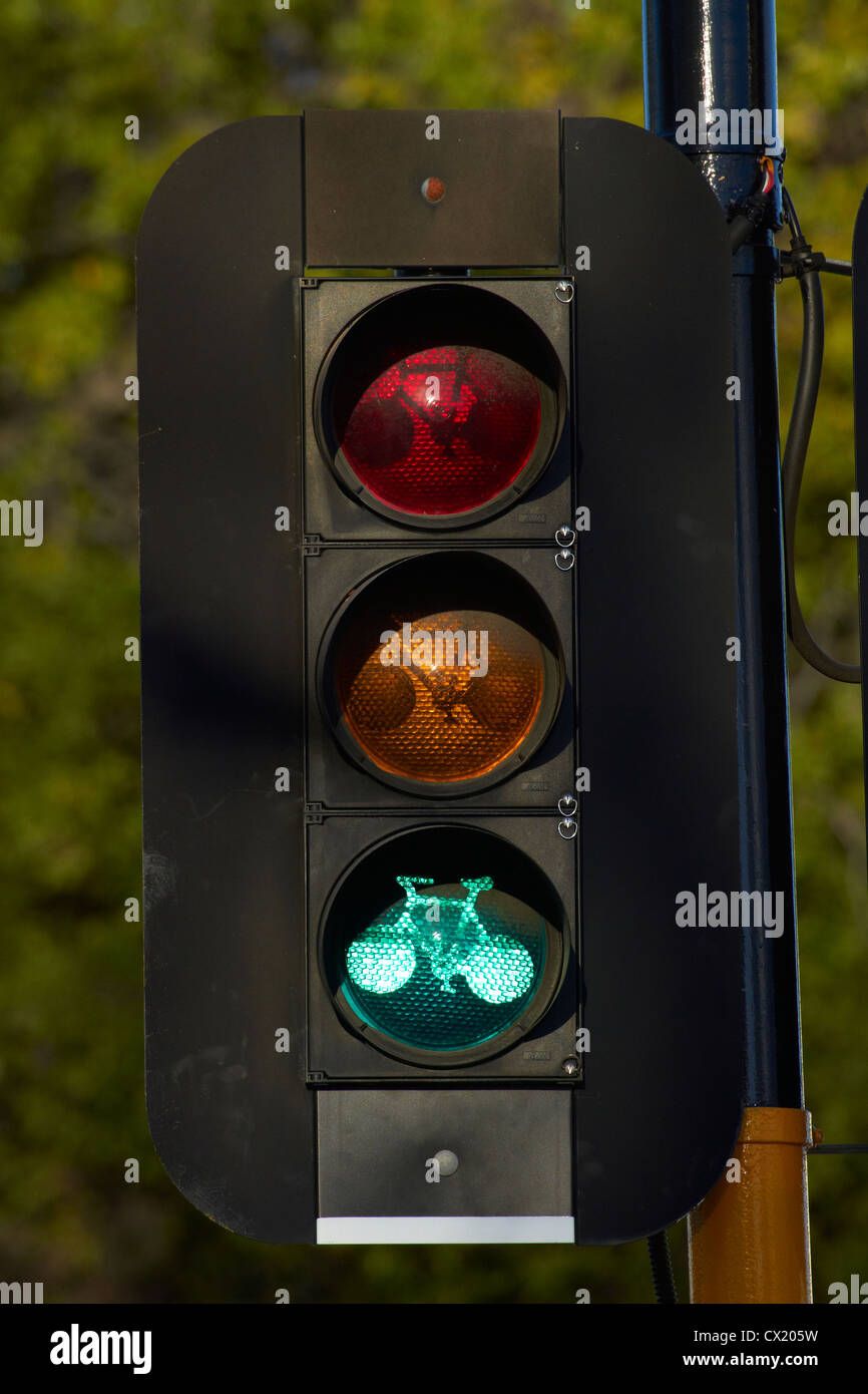 Cycle lane traffic lights, Christchurch, Canterbury, South Island, New Zealand - Stock Image