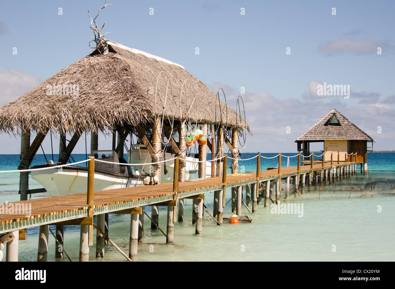 A Pearl Farm at the Havaiki Resort in Fakarava in French Polynesia - Stock Image