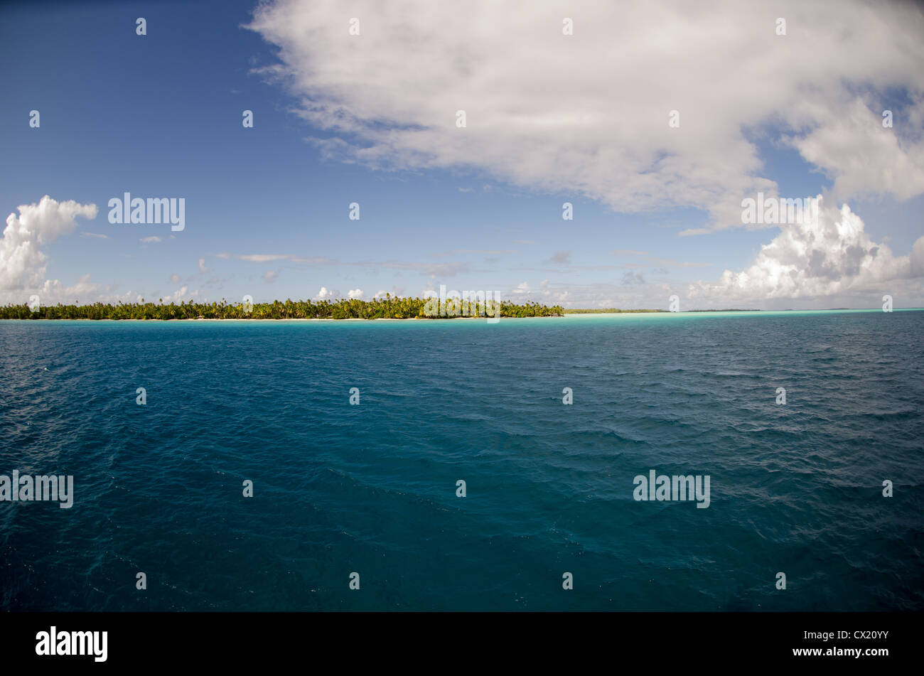 The motu Toau located in the Tuamotu's in French Polynesia - Stock Image