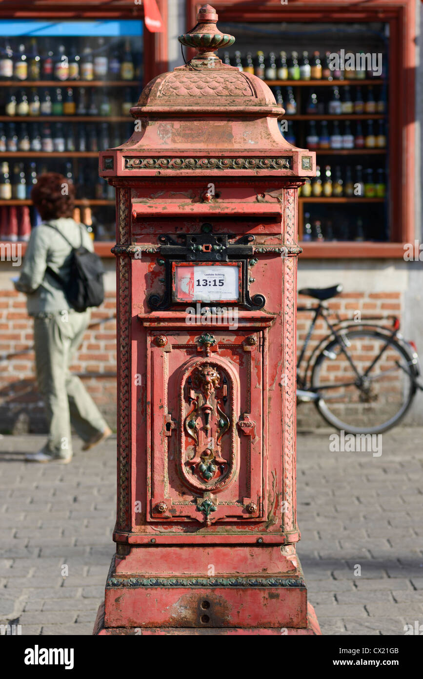 Post Box, Ghent,Flanders,Belgium - Stock Image