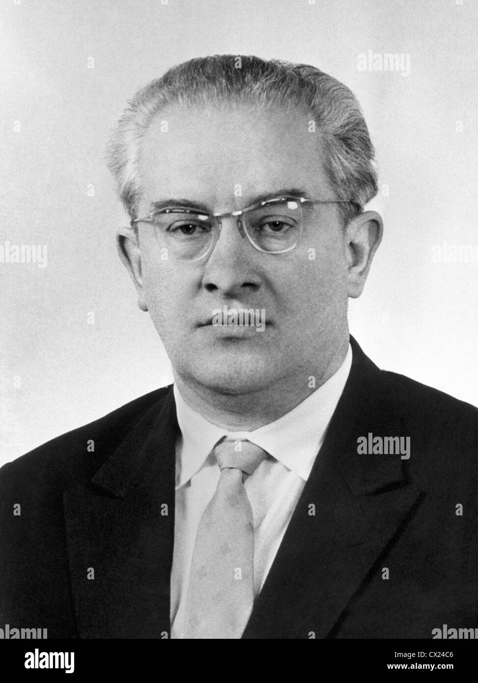 USSR. Moscow. Chairman of the KGB (Committee for State Security) Yuri Andropov. Reproduction. Photo TASS . . / - Stock Image