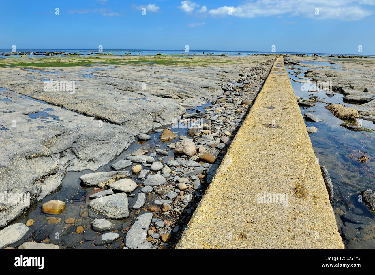 ocean beach path vanishing point whitby england uk - Stock Image