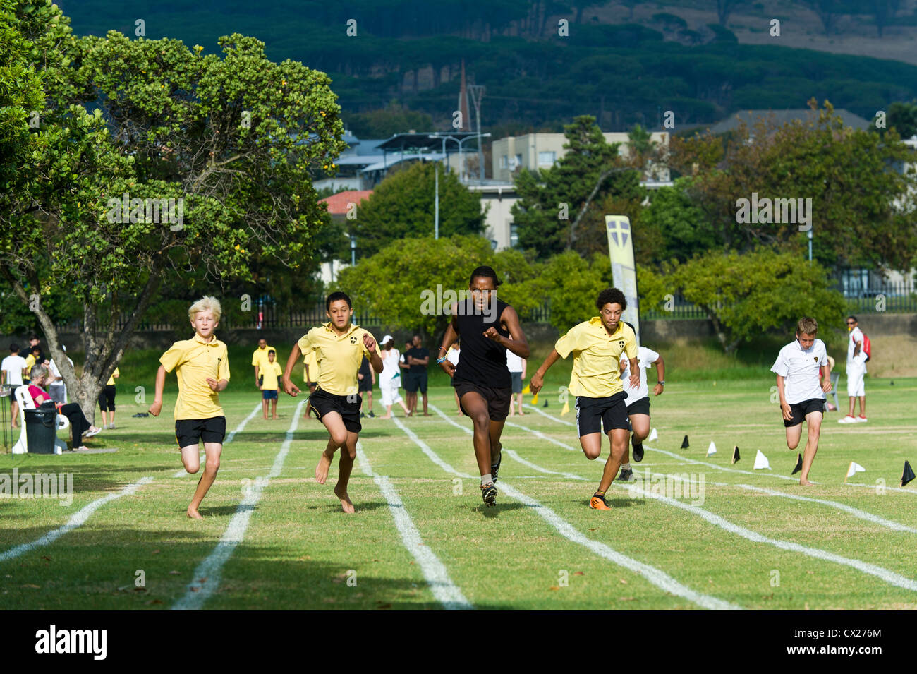 Running competition at sports day of St Geoge's School, Cape Town, South Africa - Stock Image