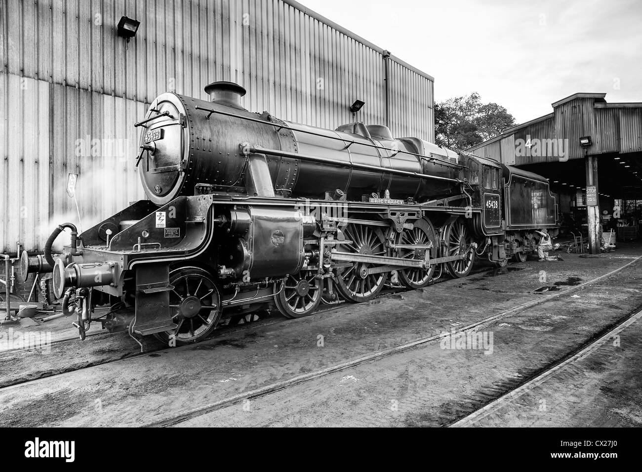 Steam engine Eric Treacy at the Grosmont engine sheds on the North Yorkshire Moors railway - Stock Image
