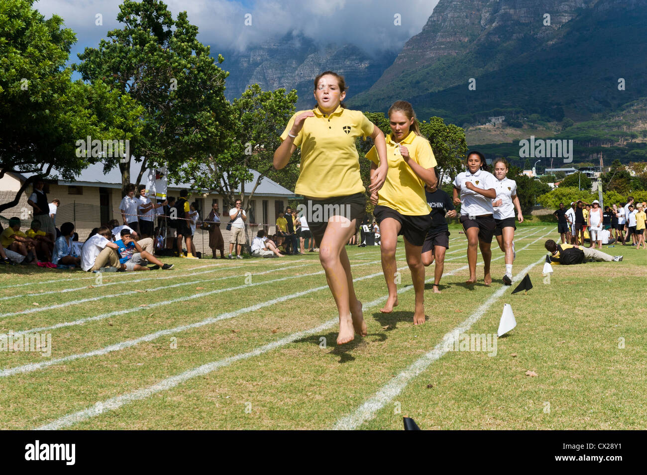 Running competition at sports day of St George's School, Cape Town, South Africa - Stock Image