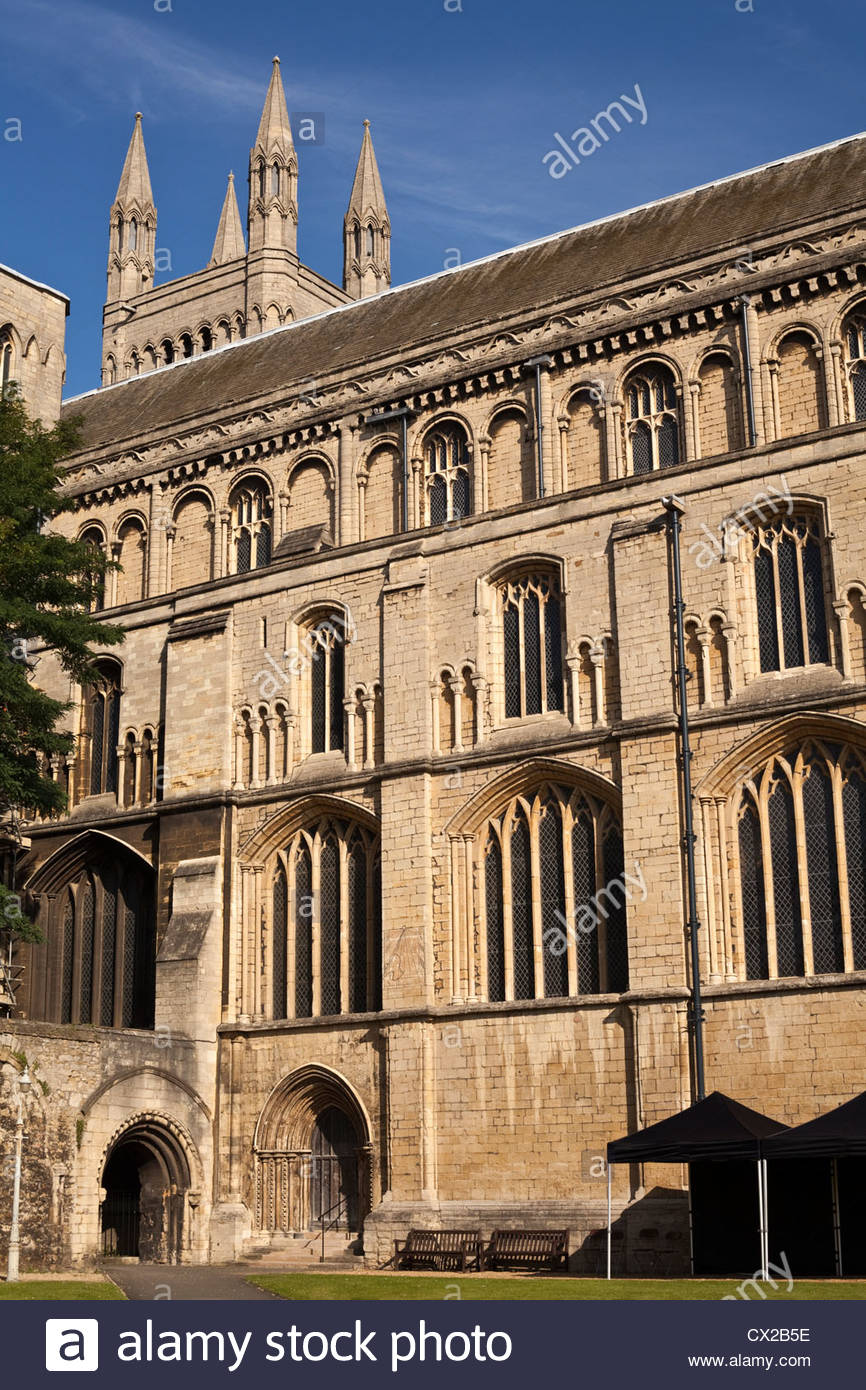 South elevation and cloister area ,Peterborough Cathedral, Cambridgeshire, England, UK - Stock Image