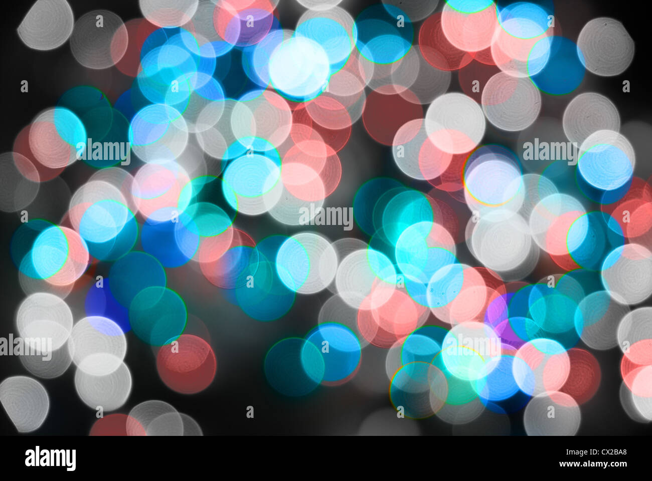 Abstract christmas lights as background on black Stock Photo