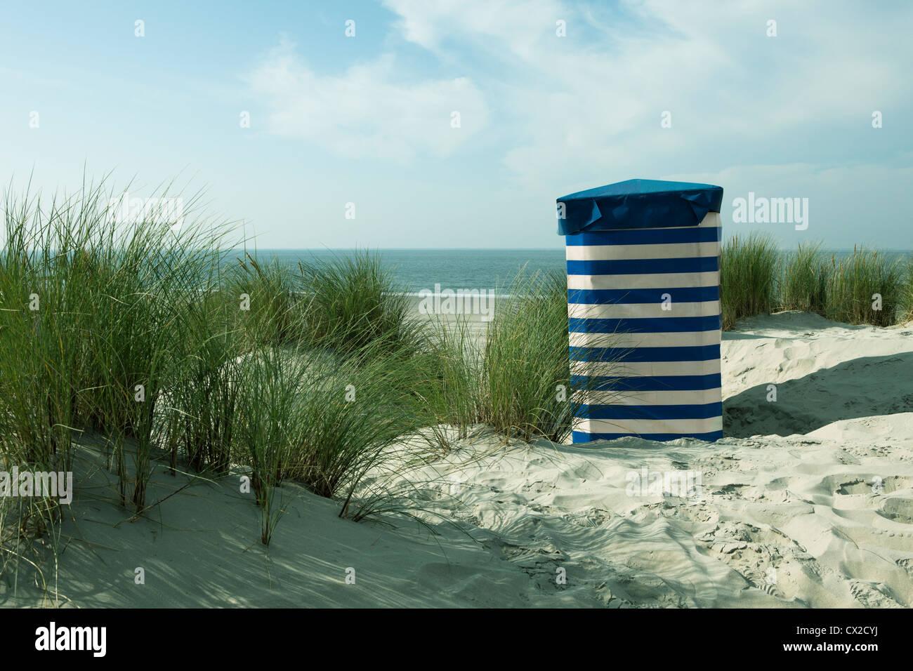 Beach, Borkum, Germany, dune, nature, sky, clouds, dune landscape, relax, island, north sea, summertime, tourism, - Stock Image