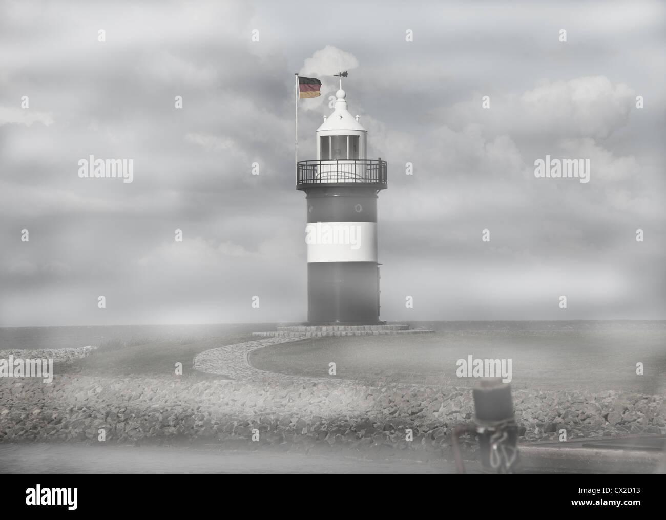 Wremen Ostfriesland Nordsee North Sea Leuchtturm im Nebel Europa Europe - Stock Image