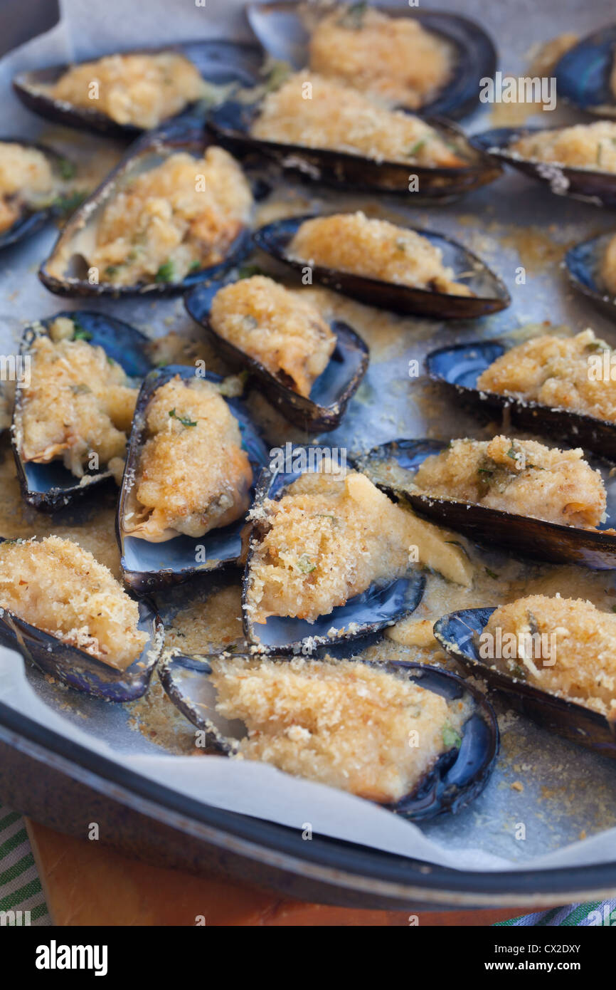 Baking tin full of tasty mussels au gratin - Stock Image