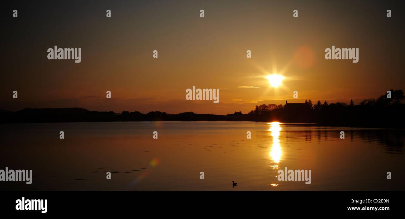Sunset across Loch Ewe from Aultbea Hotel, Aultbea, Scotland - Stock Image